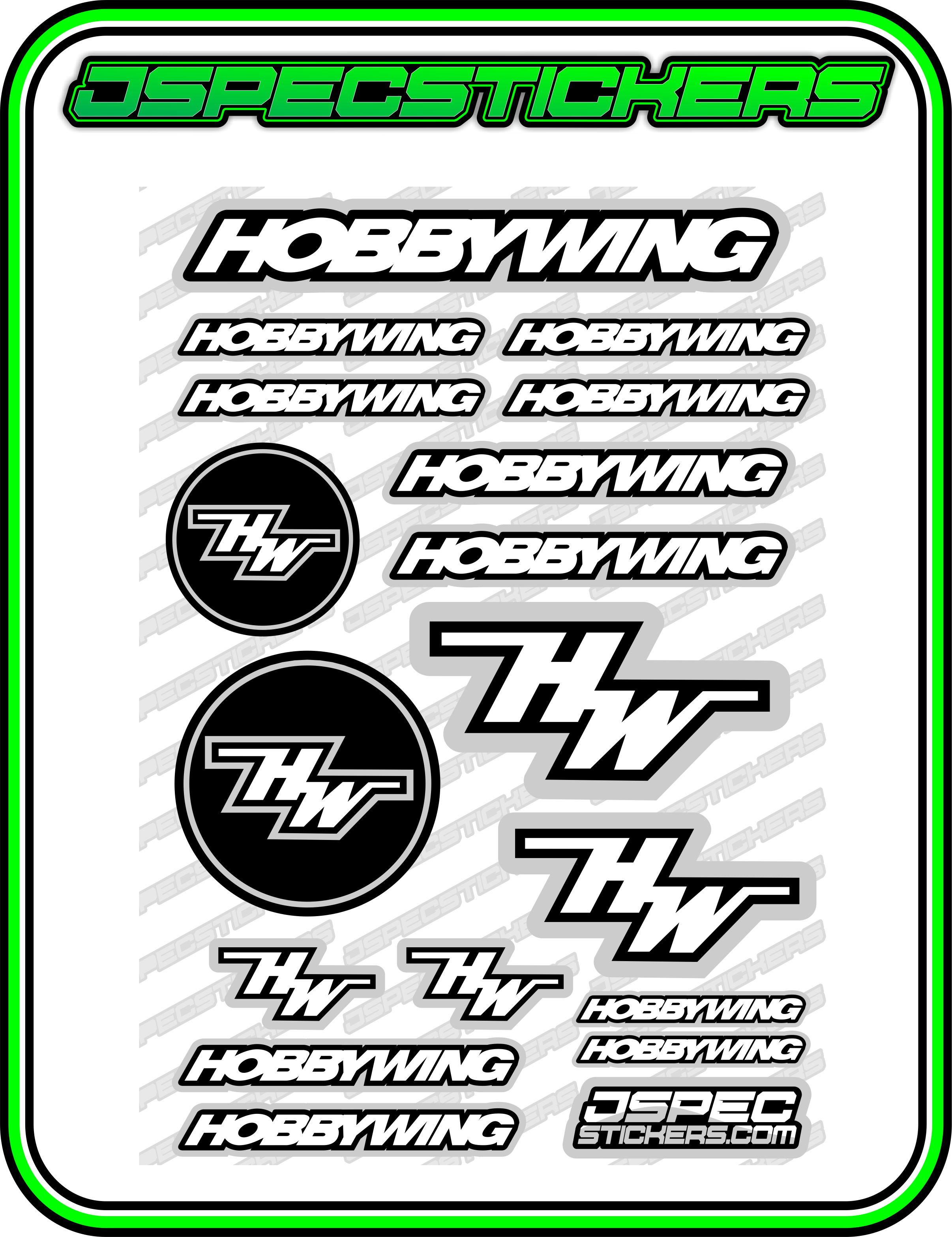 HOBBYWING RC STICKER SHEET A5 'RK EDITION' - Jspec Stickers