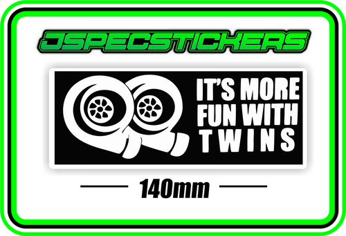 ITS MORE FUN WITH TWINS BUMPER STICKER - Jspec Stickers