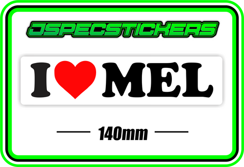 I LOVE MEL BUMPER STICKER - Jspec Stickers