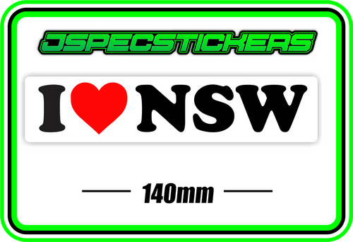 I LOVE NSW BUMPER STICKER - Jspec Stickers
