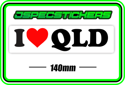 I LOVE QLD BUMPER STICKER - Jspec Stickers
