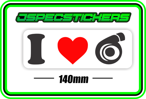 I LOVE TURBO BUMPER STICKER - Jspec Stickers
