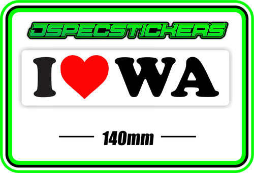 I LOVE WA BUMPER STICKER - Jspec Stickers