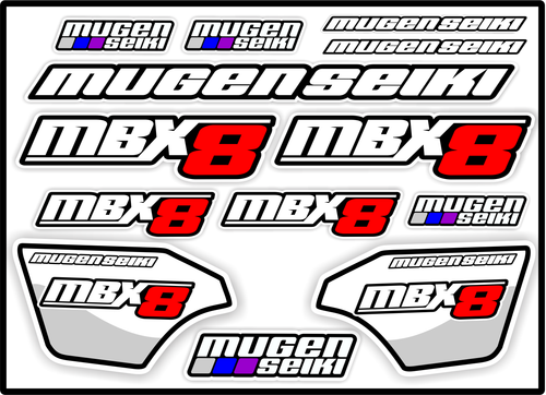 MUGEN SEIKI MBX8 STICKER SHEET A5 - Jspec Stickers