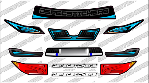Montech Racer Headlight / Grill Sticker kit - Jspec Stickers