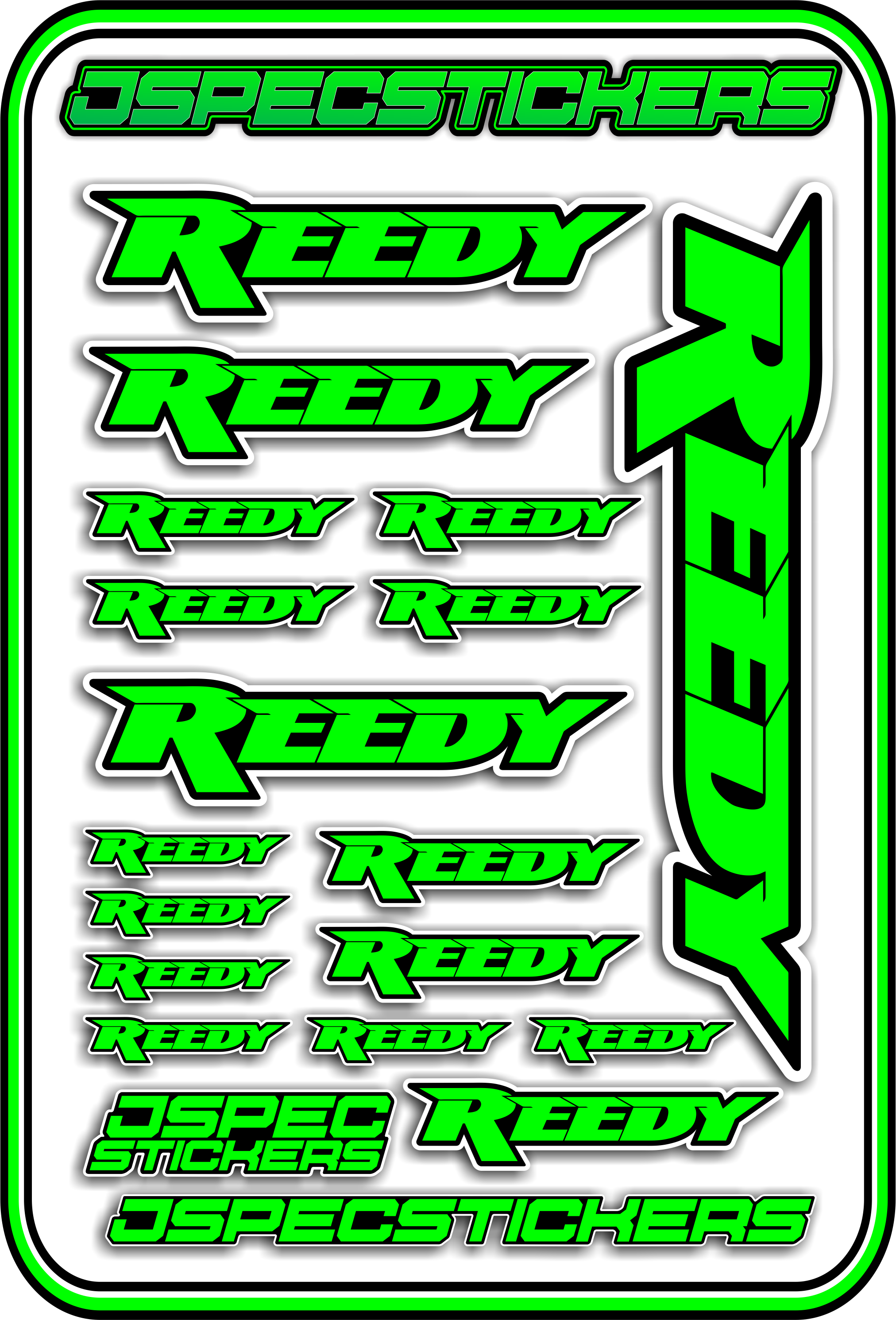REEDY RC STICKER SHEET A5 - Jspec Stickers