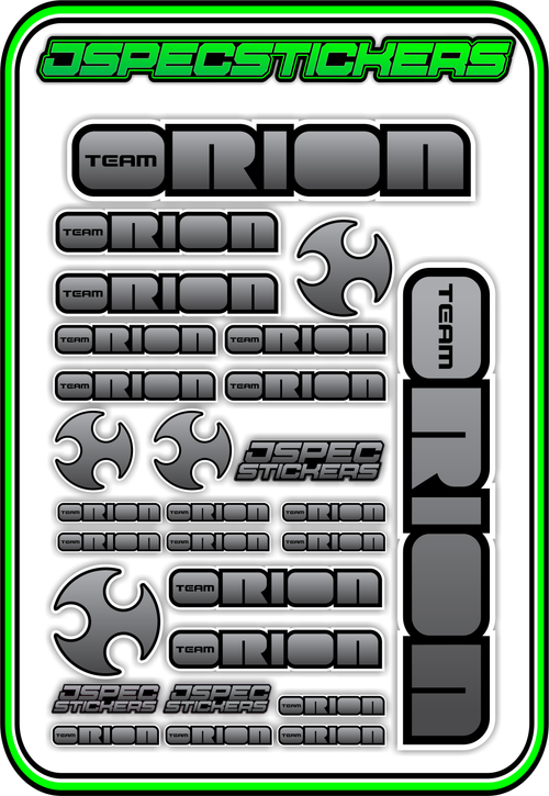 TEAM ORION RC STICKER SHEET A5 - Jspec Stickers