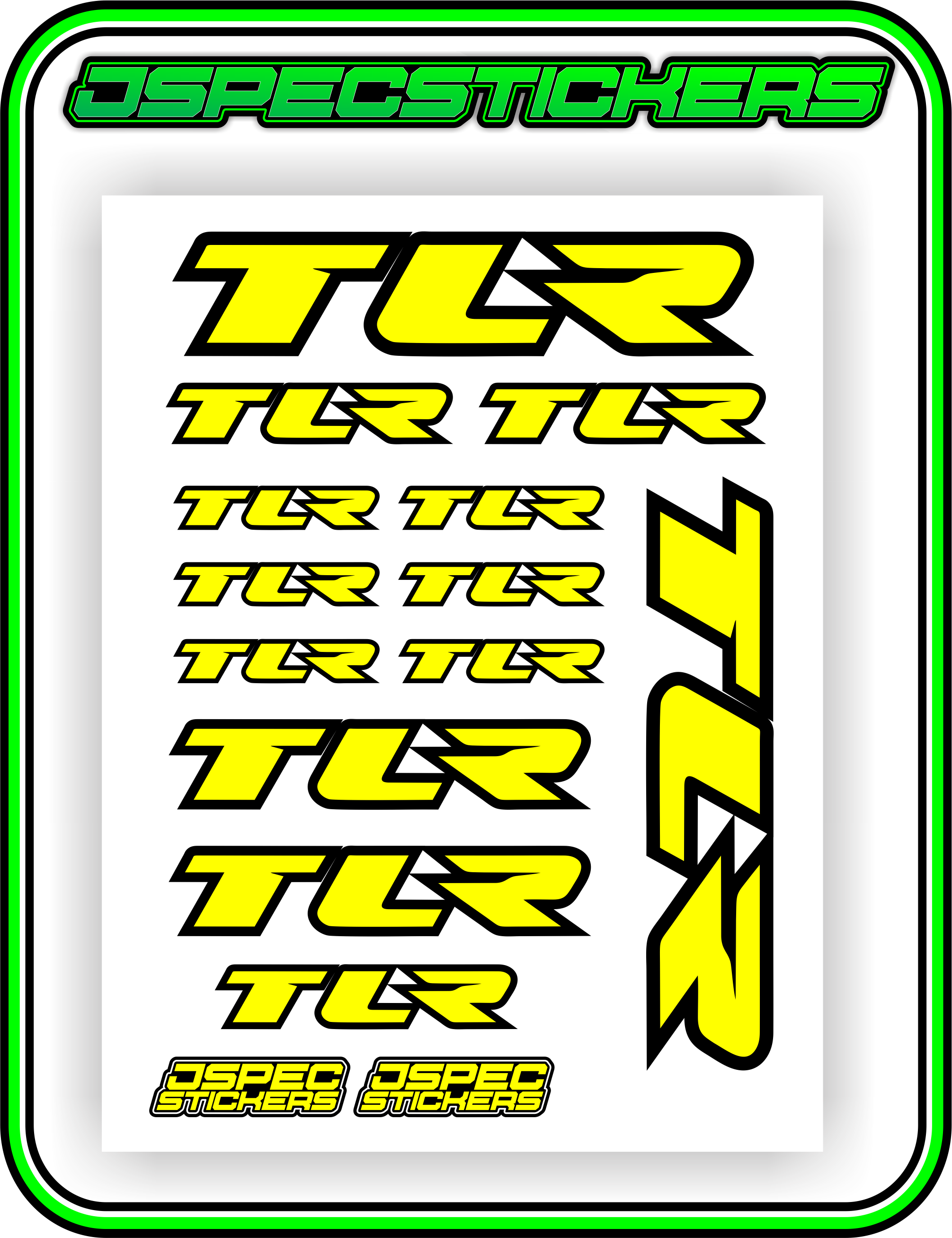 TLR LOSI RACING STICKER SHEET A5 - Jspec Stickers
