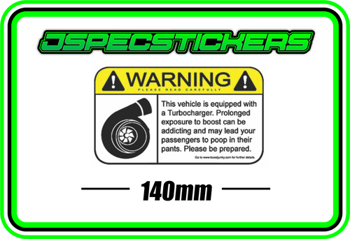 WARNING TURBO BUMPER STICKER - Jspec Stickers