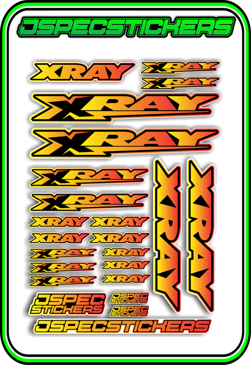 XRAY RC STICKER SHEET A5 - Jspec Stickers