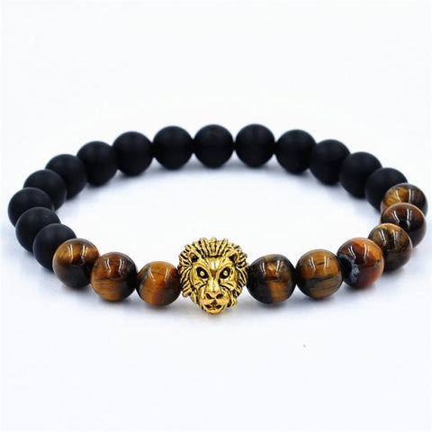 NLR Positive Vibes Lion Bracelet - Black/Brown