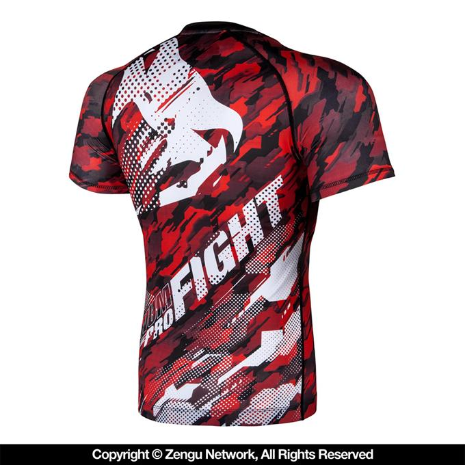 Venum-Tecmo Grappling Short Sleeve Rashguard - Red-1