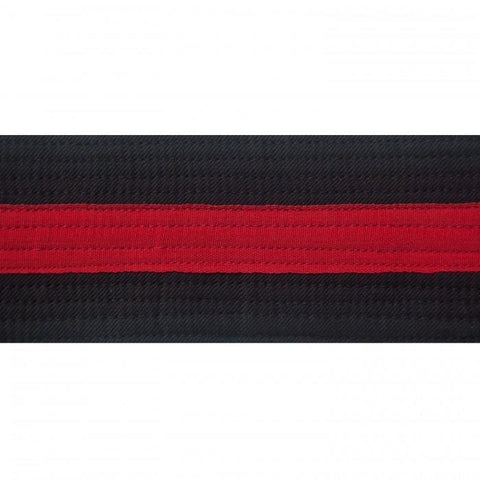 "BOLD LOOK 2"" BLACK BELTS WITH STRIPE-BALCK/RED-1"