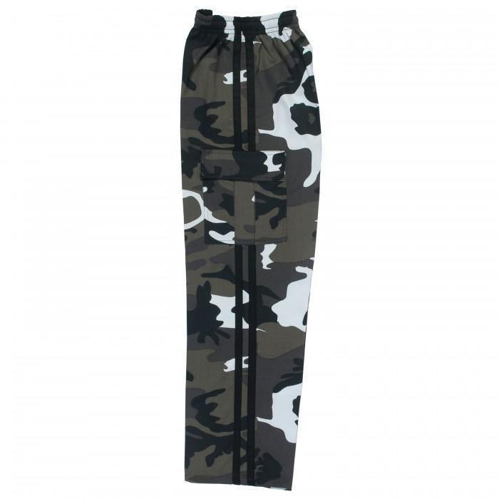 BOLD LOOK BFIT 7.5OZ CARGO PANTS-WHITE CAMO/BLACK STRIPE-1