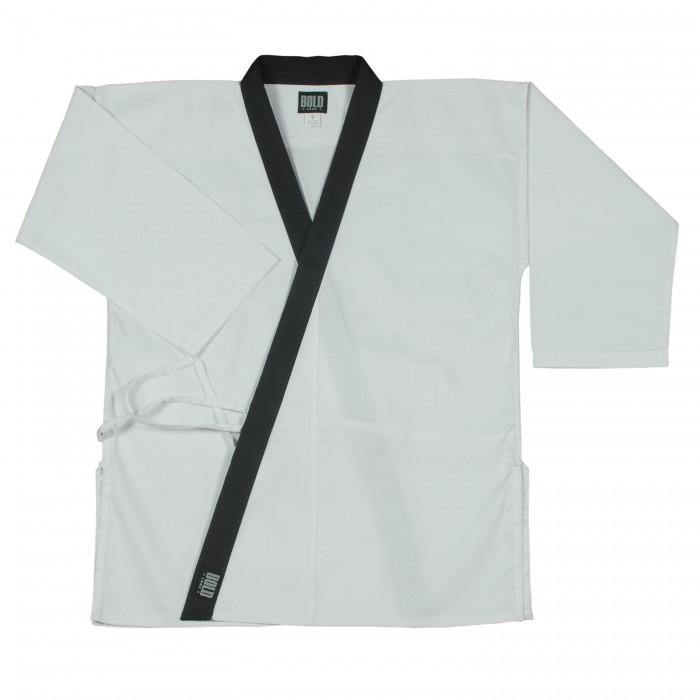 BOLD LOOK 8.5OZ SUPER MIDDLEWEIGHT TOPS WITH COLLAR TRIM-WHITE WITH BLACK TRIM-1