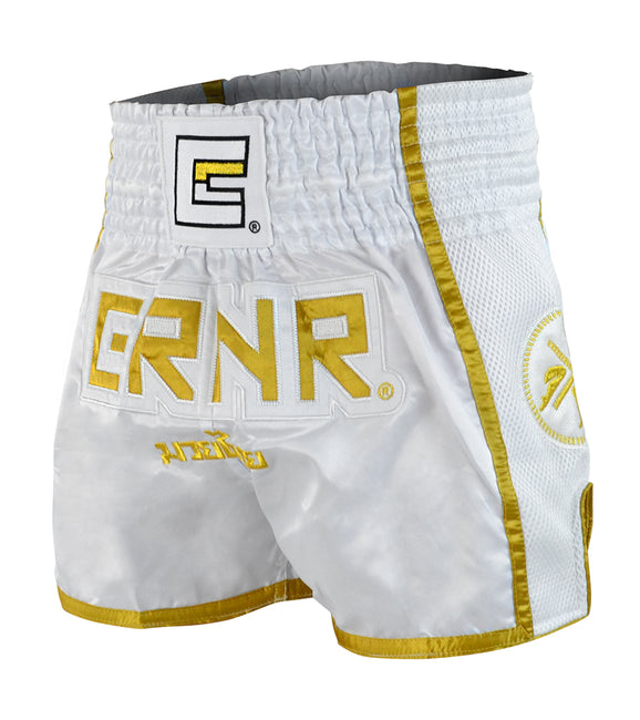 Combat Corner White/Gold CRNR Muay Thai Shorts-1