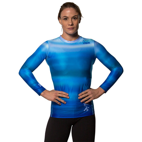 FUJI SPORTS HAIKU WOMEN'S RASH GUARD-Blue-1