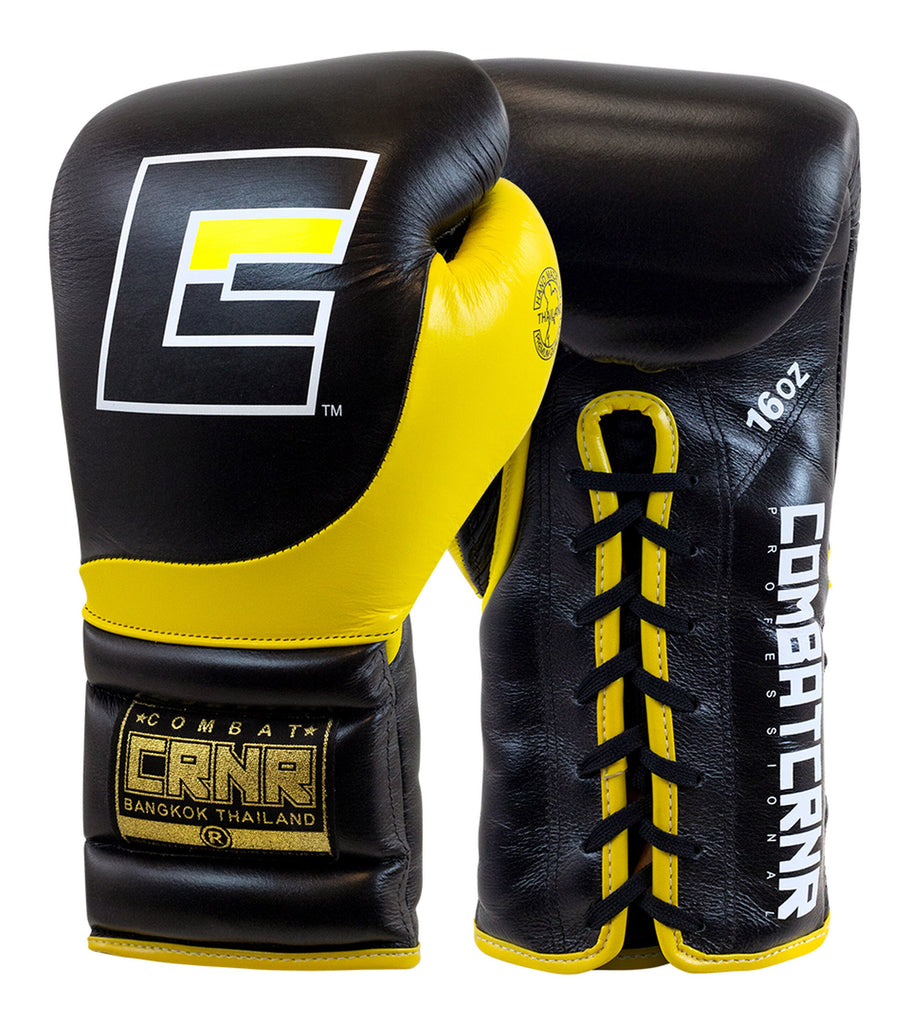 Combat Corner HMIT Lace Up Sparring Gloves Black/Yellow