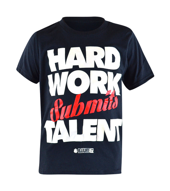 Combat Corner Youth BJJ Life Hard Work Submits Talent T-Shirt-1