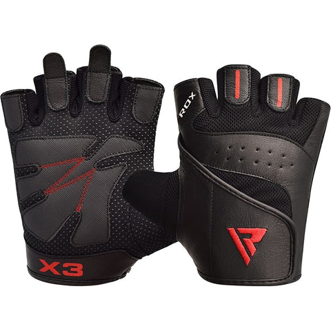 RDX S2 BLACK LEATHER WEIGHT LIFTING GLOVES-1