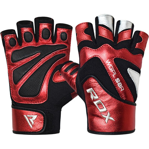 BOLD RED LEATHER GYM GLOVES-1