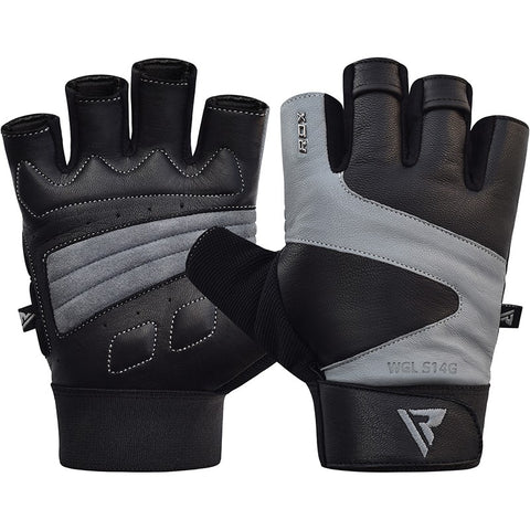 RDX S14 FERRIS WEIGHTLIFTING LEATHER GYM GLOVES/Gry-1