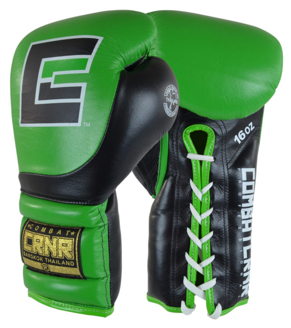Combat Corner HMIT Lace Up Sparring Gloves Green/Black-1