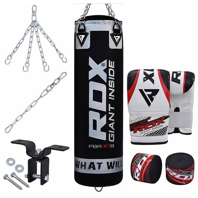 RDX 8PC BLACK ZERO IMPACT PUNCH BAG & BOXING SET-1