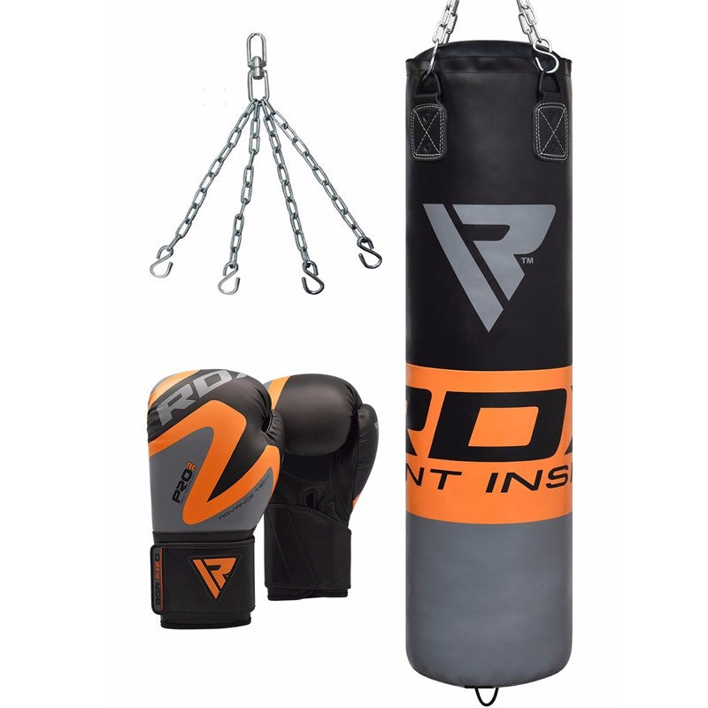 RDX F12 FILLED ORANGE PUNCH BAG & GLOVES-1