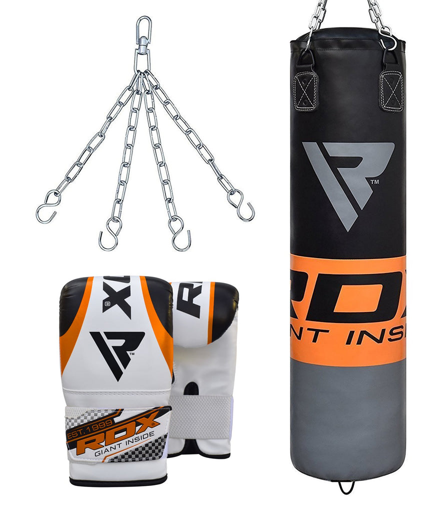 RDX F12 FILLED ORANGE PUNCH BAG & BAG GLOVES-1
