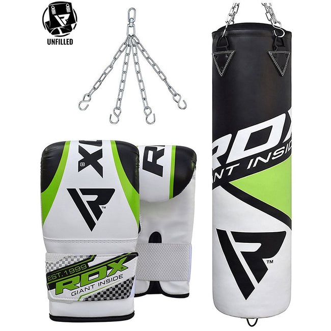 RDX UNFILLED GREEN PUNCH BAG & PUNCH MITTS SET-1