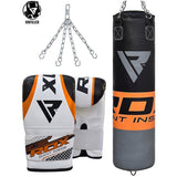 RDX 12O UNFILLED ORANGE PUNCHING BAG & MITTS-1