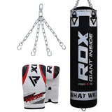 RDX X1 FILLED BLACK PUNCH BAG & BAG GLOVES-1