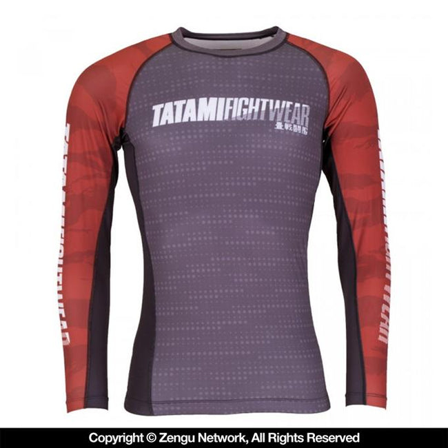 TATAMI PARTICLE GRAPPLING RASHGUARD-Grey/Red-1