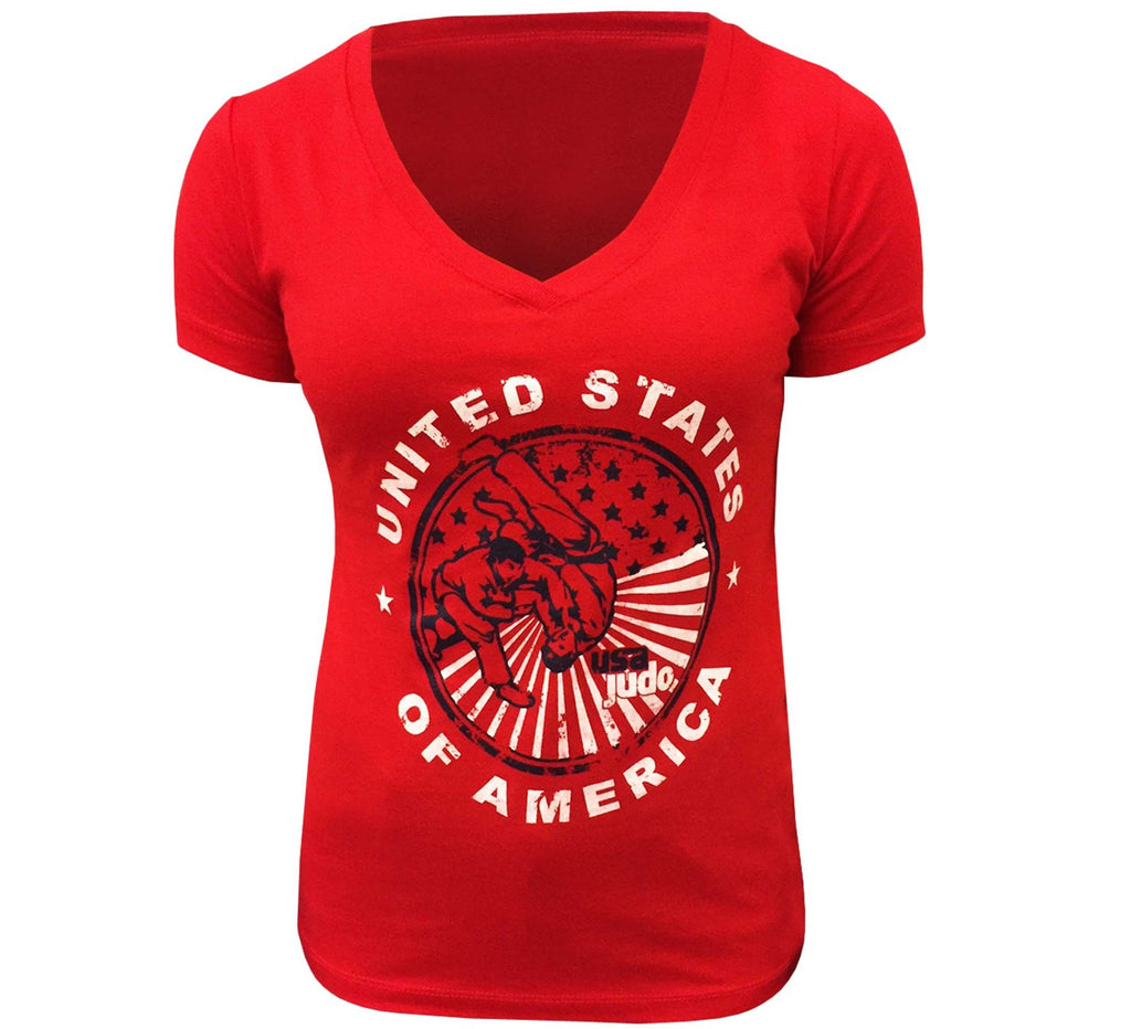 FUJI USA Judo Crest Womens T-Shirt-Red-1