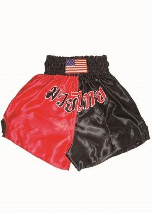 WOLDORF-Muay Thai shorts in satin Black/RED color-1