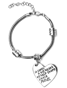 """It Takes a Big Heart to Help Shape Little Minds"" Teacher Bracelet"