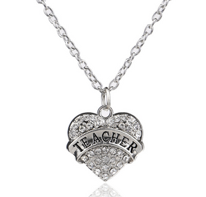 Sparkle Heart Teacher Necklace