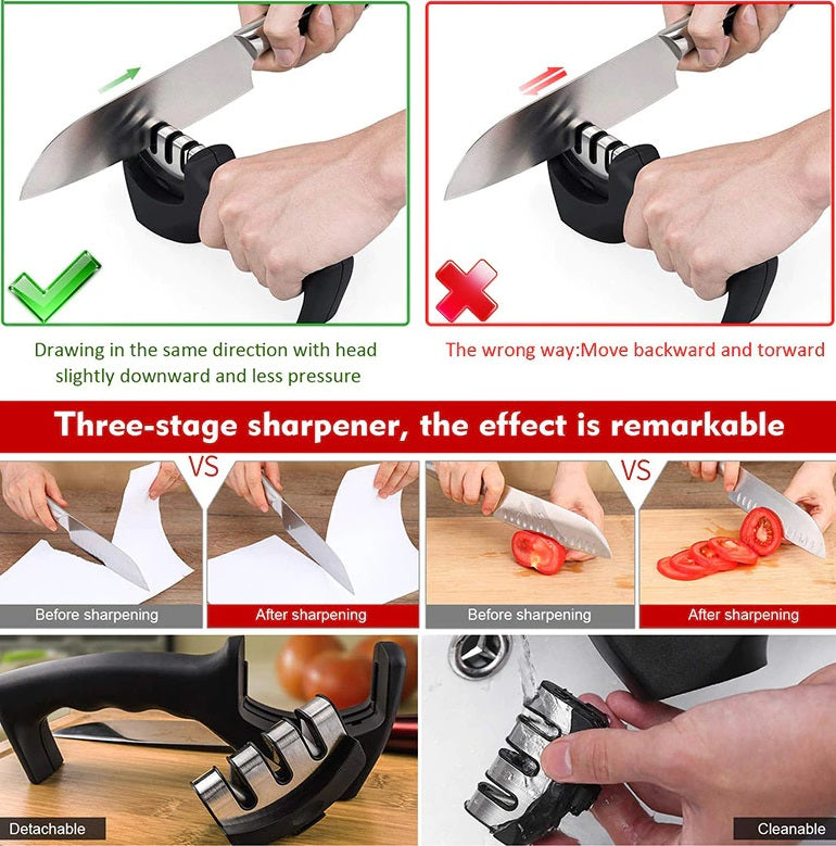 Our InsCut ™ Kitchen Knife And Scissors Sharpener can give you an efficient effect and suitable for all types of knives, such as kitchen knife, chef knife, boning knife, fruit knife, sushi knife, steak knives, butcher knife, etc. Keep your knives sharp enough to slice through tomatoes and steak like butter.