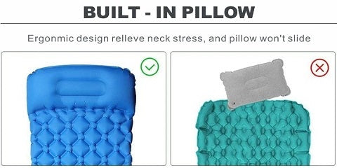 Are you sick and tired of camping on rocky, chilly, and rough terrain? The great outdoors can be extremely painful on your back, neck, and body. Most importantly, restorative rest is essential after a day of adventure. HitorHike™ Inflatable Backpacking Sleeping Pad With Pillow - Camping Hiking Mat will have you in such a deep sleep that you'll sleep through a bear destroying your campsite!