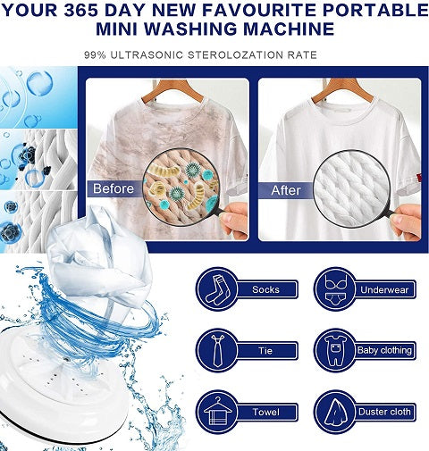 We are introducing the Sonikku™ Portable Mini Washing Machine! Just throw it into any tub of water and let it quickly and efficiently clean your clothes and dishes.