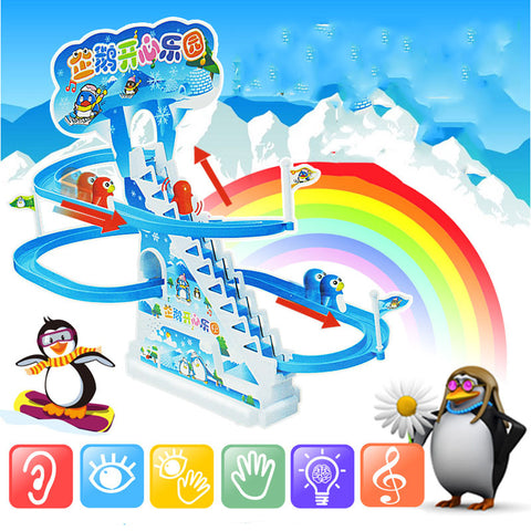 2018 Hot sale Children Electric Penguins Slide plastic track Racing Tunnel Scale DIY Assemble Model Kids Toys Gift Brinquedos