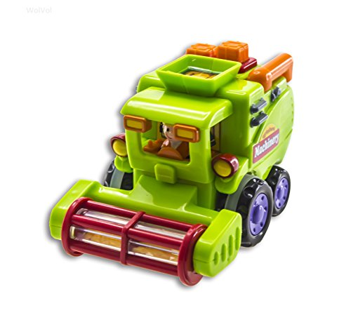 WolVol (Set of 3) Push and Go Friction Powered Car Toys for Boys - Street Sweeper Truck, Cement Mixe