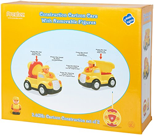 Pack of 2 Construction Cartoon R/C Toys Cement Truck and Dump Truck Radio Control Toys for Kid