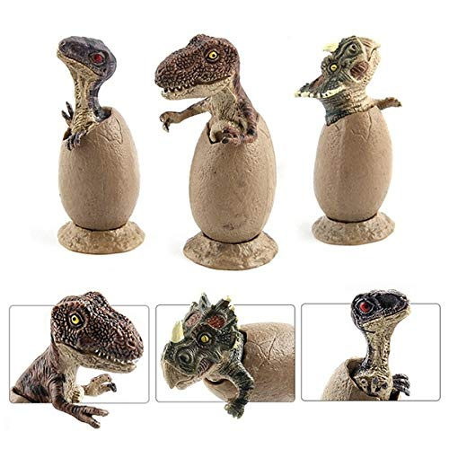 3 Pcs/Set Dinosaur Eggs Model Tyrannosaurus Velociraptor Triceratops Hatching Educational Toy for Kids