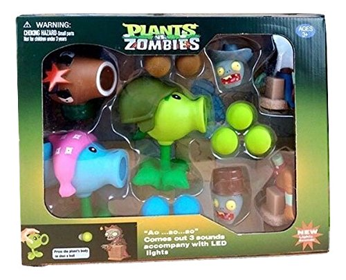 Plants vs Zombies Toys Package Set with Lights and Sounds - 3 Plants, 2 Zombies 9 Foam Balls (Option 1)