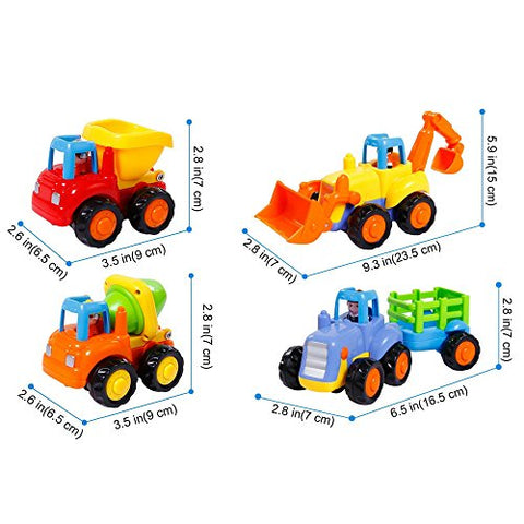 Friction Powered Cars Push and Go Car Construction Vehicles Toys Set of 4 Tractor,Bulldozer