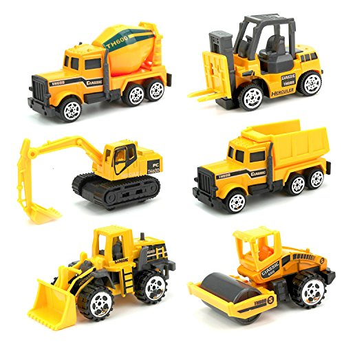 JellyDog Inertia Toy Early Engineering Vehicles Friction Powered Kids Dumper, Bulldozers,Set of 6