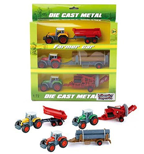 Diecast Farm Tractors with Trailer 1:72 Scale Vehicles (Set of 3)