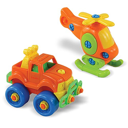 Kidwerkz Set of 7 Take Apart Toys - Dinosaurs, Helicopter, Train, Truck, Motorcycle - STEM Building